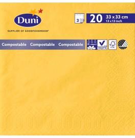 Салфетки 3-слойные, бумажные Duni Tissue, цвет: Жёлтый, размер 33 х 33 см, 20 штук