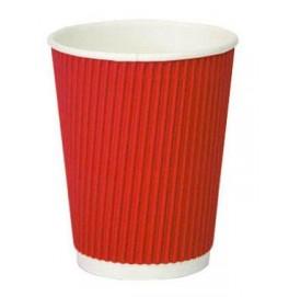 Гофрированный бумажный стакан. Цвет: Красный; 250 /200 мл
