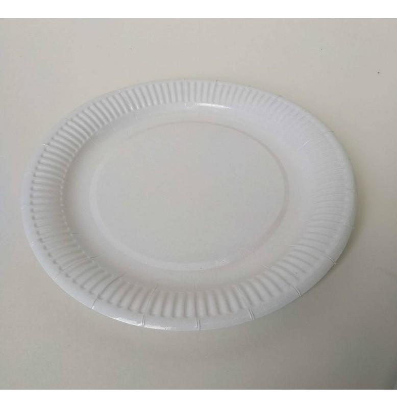 Тарелка бумажная круглая. Диаметр: 23 см. Цвет: белый