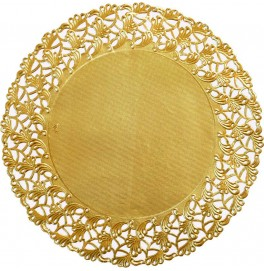 Кружевные салфетки Doilies, D36 см, круглые, Цвет: золото; 10 шт