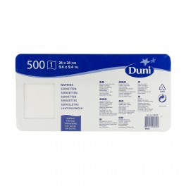 Салфетки 1-слойные, бумажные Duni Tissue, цвет: Белый, размер 24 х 24 см, 500 штук. АКЦИЯ!