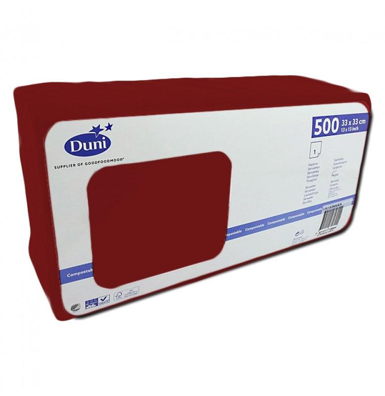 Салфетки 1-слойные, бумажные Duni Tissue, цвет: Бордо, размер 33 х 33 см, 500 штук