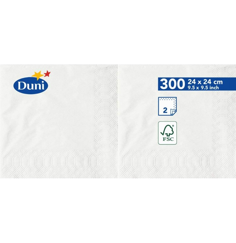 Салфетки 2-слойные, бумажные Duni Tissue, цвет: Белый, размер 24 х 24 см, 300 штук