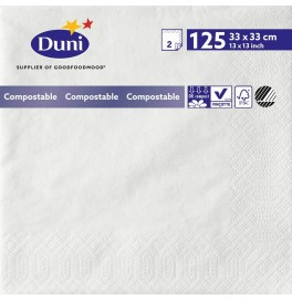 Салфетки 2-слойные, бумажные Duni Tissue, цвет: Белый, размер 33 х 33 см, 125 штук