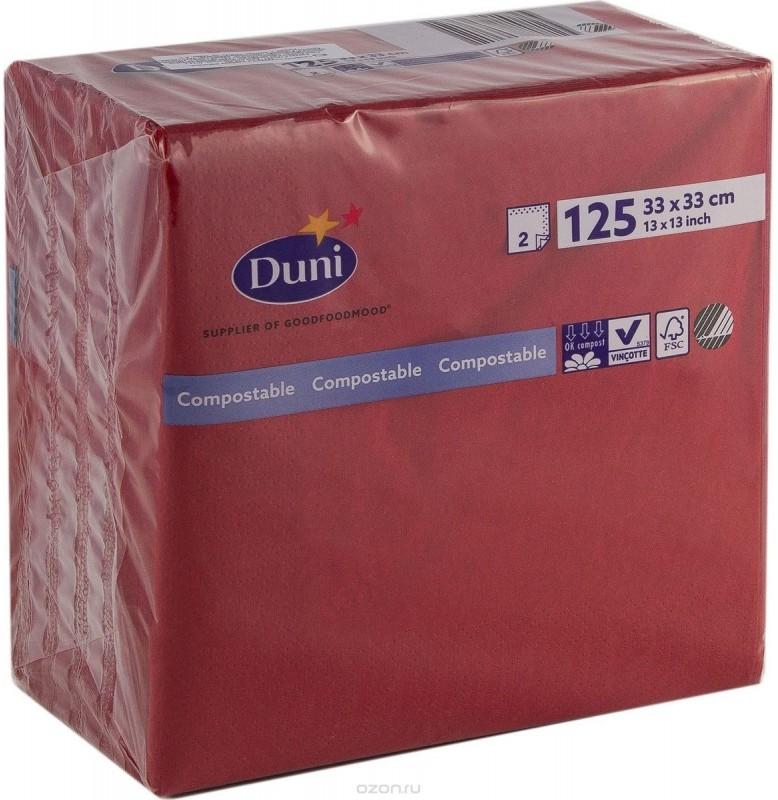 Салфетки 2-слойные, бумажные Duni Tissue, цвет: Бордо, размер 33 х 33 см, 125 штук