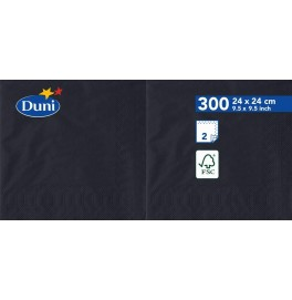 Салфетки 2-слойные, бумажные Duni Tissue, цвет: Чёрный, размер 24 х 24 см, 300 штук