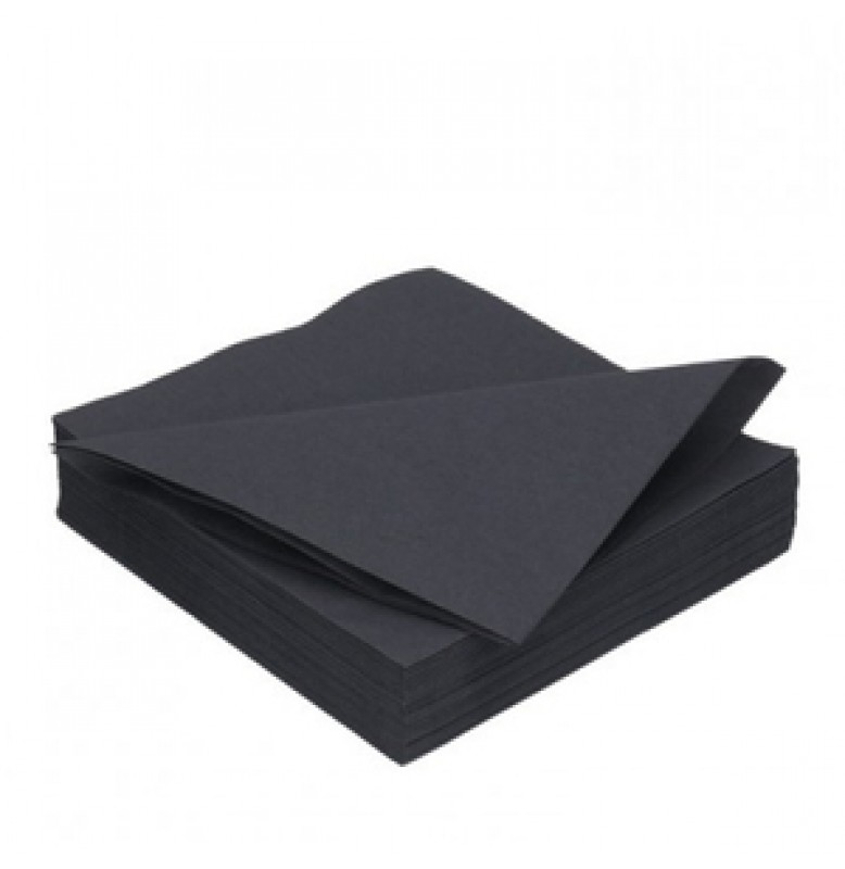 Салфетки 2-слойные, бумажные Duni Tissue, цвет: Чёрный, размер 33 х 33 см, 125 штук