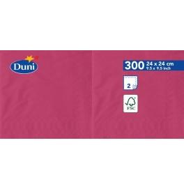 Салфетки 2-слойные, бумажные Duni Tissue, цвет: Фуксия, размер 24 х 24 см, 300 штук