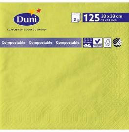Салфетки 2-слойные, бумажные Duni Tissue, цвет: Киви, размер 33 х 33 см, 125 штук
