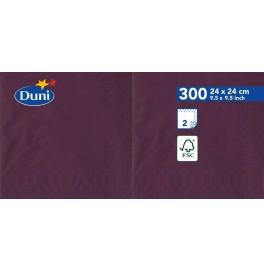 Салфетки 2-слойные, бумажные Duni Tissue, цвет: Слива, размер 24 х 24 см, 300 штук