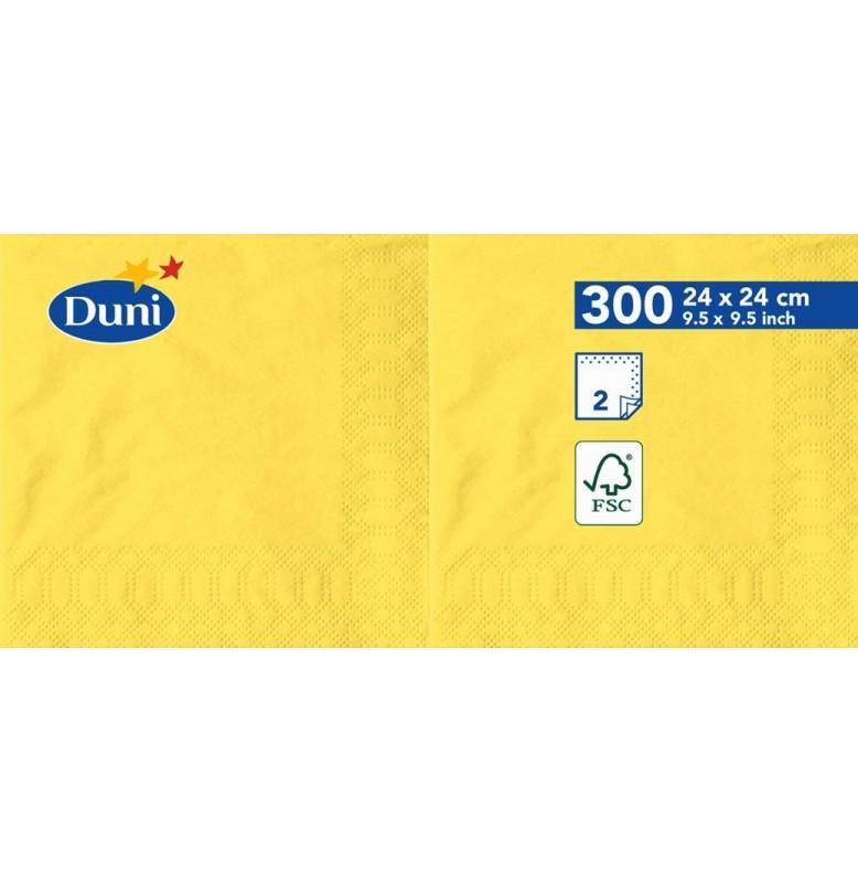 Салфетки 2-слойные, бумажные Duni Tissue, цвет: Жёлтый, размер 24 х 24 см, 300 штук