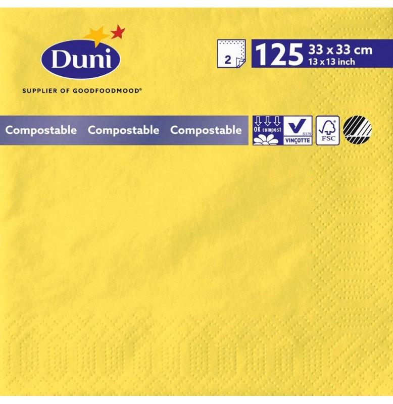 Салфетки 2-слойные, бумажные Duni Tissue, цвет: Жёлтый, размер 33 х 33 см, 125 штук