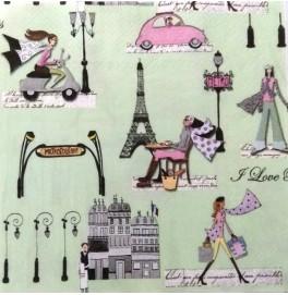 Салфетки 3-слойные, бумажные DecoPrint, ПАРИЖ,  размер 33 х 33 см, 20 штук