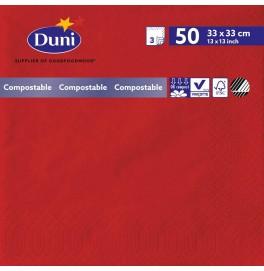 Салфетки 3-слойные, бумажные Duni Tissue, цвет: Красный, размер 33 х 33 см, 50 штук