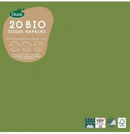 Салфетки 3-слойные, бумажные Duni Tissue, цвет: Травяной зелёный, размер 33 х 33 см, 20 штук