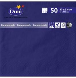 Салфетки 3-слойные, бумажные Duni Tissue, цвет: Тёмно-синий, размер 33 х 33 см, 50 штук