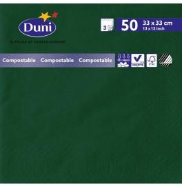 Салфетки 3-слойные, бумажные Duni Tissue, цвет: Тёмно-зелёный, размер 33 х 33 см, 50 штук