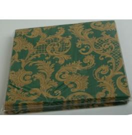 Салфетки 3-слойные, бумажные, размер 36 х 36 см, 20 штук. Цвет: Зелёный