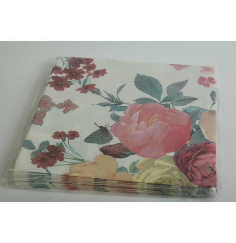 Салфетки бумажные 40 х 40 см, роза, 12 штук