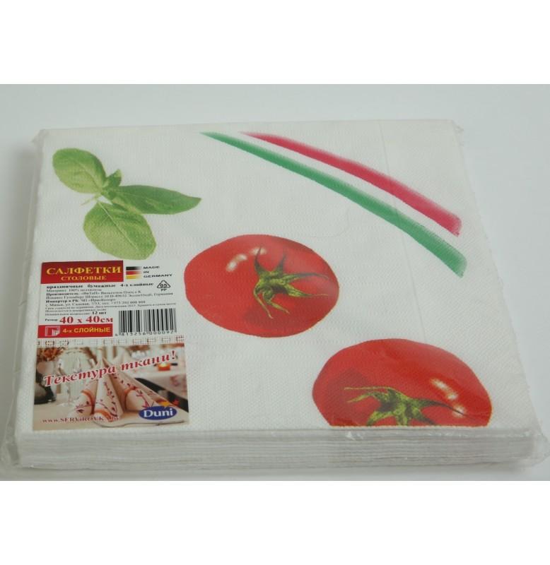 Салфетки бумажные дизайнерские Duni Classic, цвет: Помидоры, размер 40 х 40 см, 12 шт.