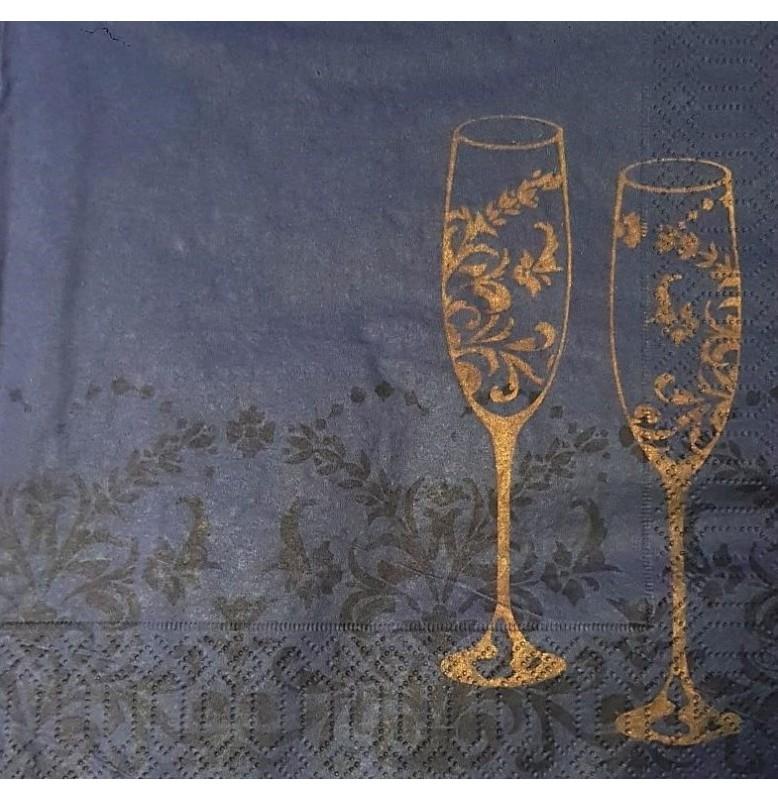 Салфетки бумажные Duni Дизайнерские, цвет: BLACK AND GOLD  размер 33 х 33 см.