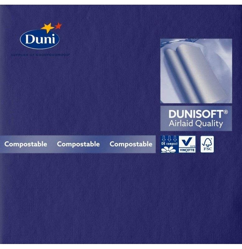 Салфетки бумажные Dunisoft Airlaid, цвет: тёмно-синий, размер 40 х 40 см, 12 шт