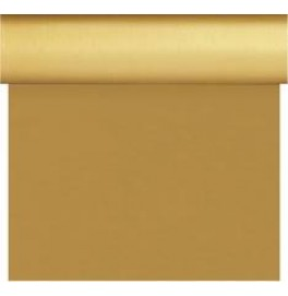 Скатерть – дорожка DUNISILK водостойкая. Размер: 0,4 х 4.8 м. Однотонная цветная. Цвет: Золото. 1 штука